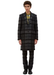 Fendi Tactile Multi Checked Single Breasted Coat Grey