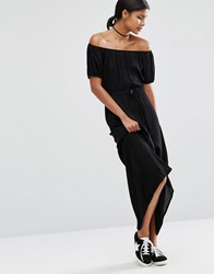 Asos Off Shoulder Tie Waist Maxi Dress Black