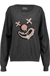 Markus Lupfer Joey Sequin Embellished Wool Sweater Gray