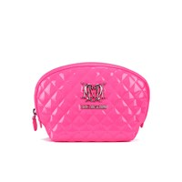 Love Moschino Women's Quilted Patent Cosmetic Bag Pink