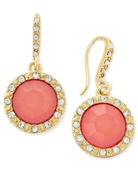 Inc International Concepts Gold Tone Pink Stone And Pave Framed Drop Earrings Only At Macy's