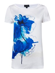 Armani Jeans Short Sleeve Floral Print Top White