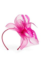 Nordstrom Feathered Sinamay Fascinator Headband Pink Fuschia