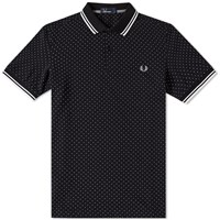 Fred Perry Printed Polka Dot Polo Black