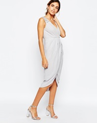 Tfnc Midi Dress With Embellished Shoulders And Wrap Skirt Grey