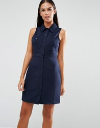 Ax Paris Ribbed Sleeveless Shirt Dress With Pocket Detail Navy