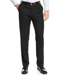 Haggar Straight Fit Flat Front Performance Microfiber Dress Pants Black