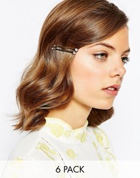 Asos Pack Of 6 Crystal Hair Clips Crystal Clear