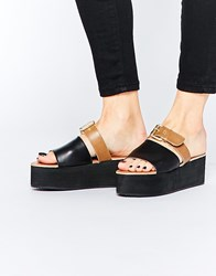 Park Lane Slide Buckle Leather Flatform Sandals Black Tan