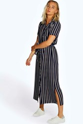Boohoo Stripe Woven Wrap Midi Dress Navy
