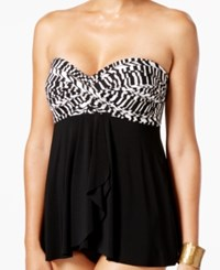 Miraclesuit Between The Pleats Printed Tankini Top Women's Swimsuit Black White
