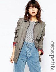 Asos Petite Jacket In Wax And Heritage Detail Light Gray