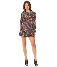 Red Valentino Fancy Flower Print Macrocaine Romper Black Women's Jumpsuit And Rompers One Piece