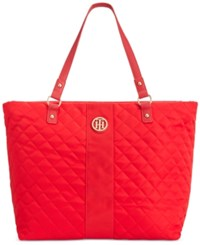Tommy Hilfiger Isla Quilted Tote Racing Red