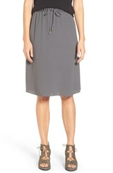 Eileen Fisher Women's Silk Crepe Georgette Drawstring Waist A Line Skirt Ash