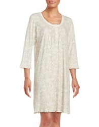 Miss Elaine Plus Floral Cotton Blend Nightgown Pink