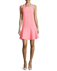 Nanette Lepore Sleeveless Dress With Dropped Waist Neon Coral