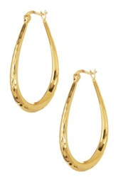 Argentovivo 18K Gold Plated Sterling Silver Teardrop Hoop Earrings Metallic