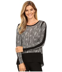 Michael Michael Kors Textured Scale Woven Top Black Women's Clothing