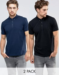 Asos Pique Polo 2 Pack In Navy And Black Navy Black Multi
