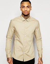 Asos Skinny Shirt In Stone With Long Sleeve Stone