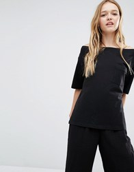 Weekday Pocket Off The Shoulder T Shirt Black