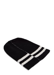 Raf Simons Striped Ribbed Knit Hat Black
