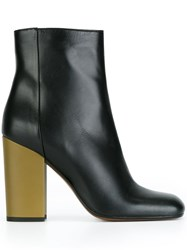 Marni Contrast Heel Ankle Boots Black