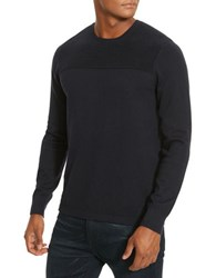 Kenneth Cole Textured Crewneck Sweater Indigo