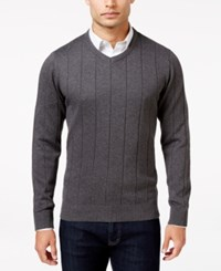 John Ashford Men's V Neck Striped Texture Sweater Only At Macy's Charcoal Heather