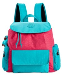 Kipling Kirsty Backpack Vibrant Pink Cool Turquoise Combo