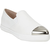 Miu Miu Metal Captoe Slip On Sneakers White