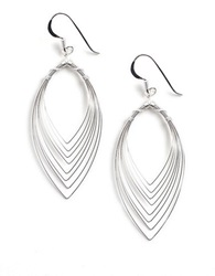 Lord And Taylor Sterling Silver Feather Effect Drop Earrings
