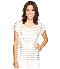 Lilly Pulitzer Rollins Top Gold Metallic Serene Stripe Women's Clothing