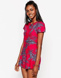 Motel Hoppy Cap Sleeve Playsuit In Two Tone Floral Raspberry Raspberry Red