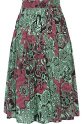 M Missoni Perforated Printed Cotton Skirt Light Green