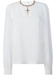 Dolce And Gabbana Embellished Cross Blouse