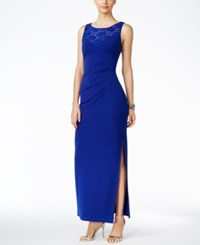 Connected Embellished Ruched Gown Cobalt