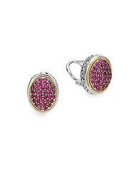 Effy Ruby Pave Sterling Silver And 18K Yellow Gold Stud Earrings Silver Pink