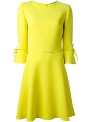 Ermanno Scervino Bow Cuff Skater Dress Yellow And Orange