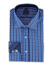 English Laundry Plaid Woven Dress Shirt Nvy Blue