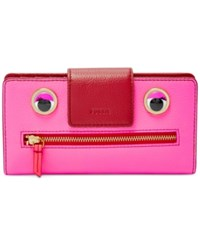 Fossil Emma Rfid Patchwork Tab Clutch Wallet Neon Pink