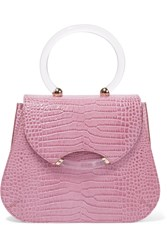 Charlotte Olympia Newman Croc Effect Leather Tote Pink