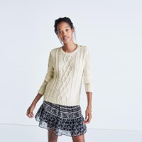 Madewell Et Sezane Marin Cable Sweater Antique Cream
