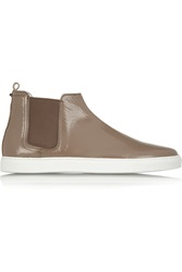 Lanvin Patent Leather High Top Slip On Sneakers Brown