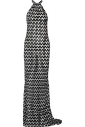 Missoni Metallic Crochet Knit Maxi Dress Black