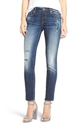 A V Denim Women's Thompson Plaid Inset Distressed Tomboy Jeans