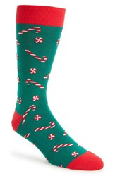 Hot Sox Men's Candy Canes Socks Pine