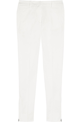 Miu Miu Cropped Stretch Cotton Skinny Pants White