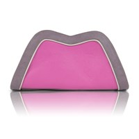 Feather M Tuesday Clutch Pink And Lavender Leather Grey Pink Purple